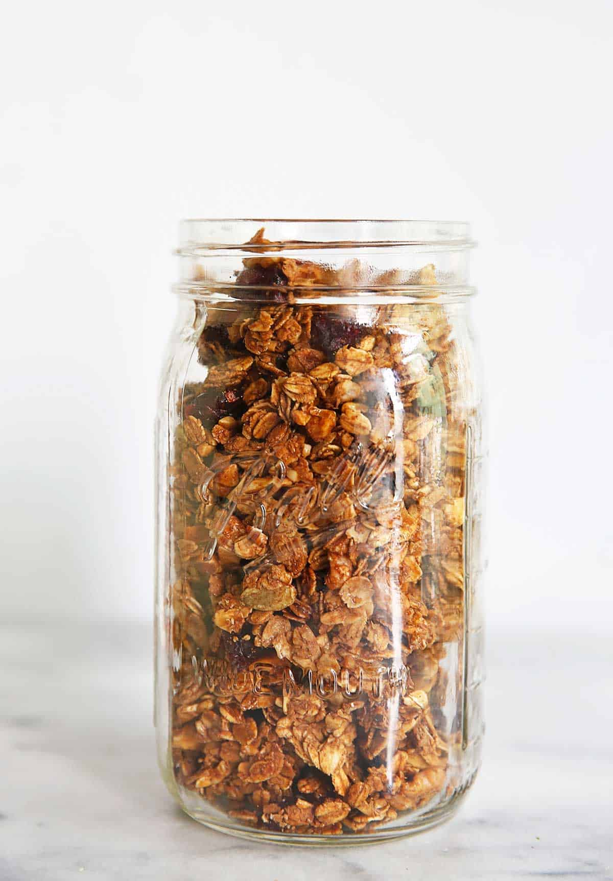 Homemade gluten free granola in jar