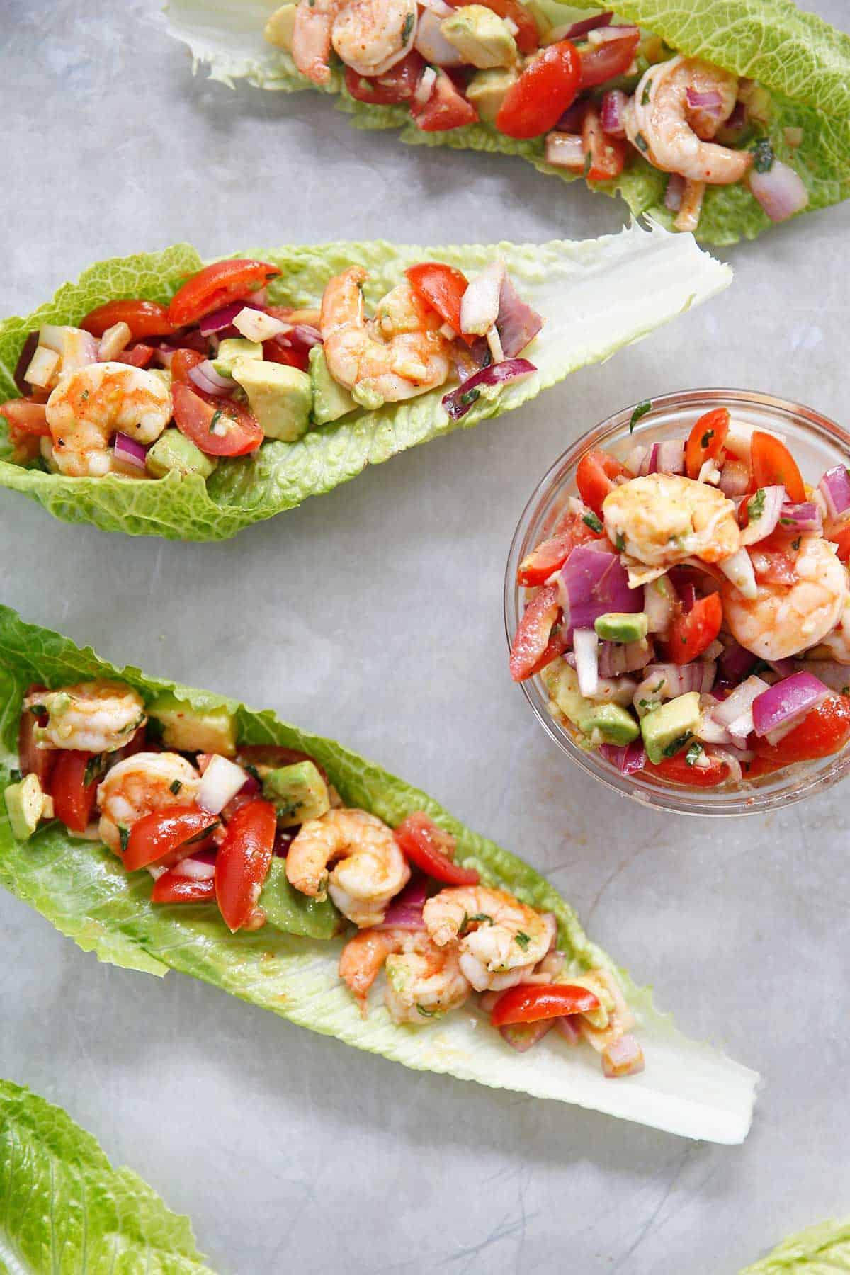 Lemon dressing for shrimp salad in lettuce boats