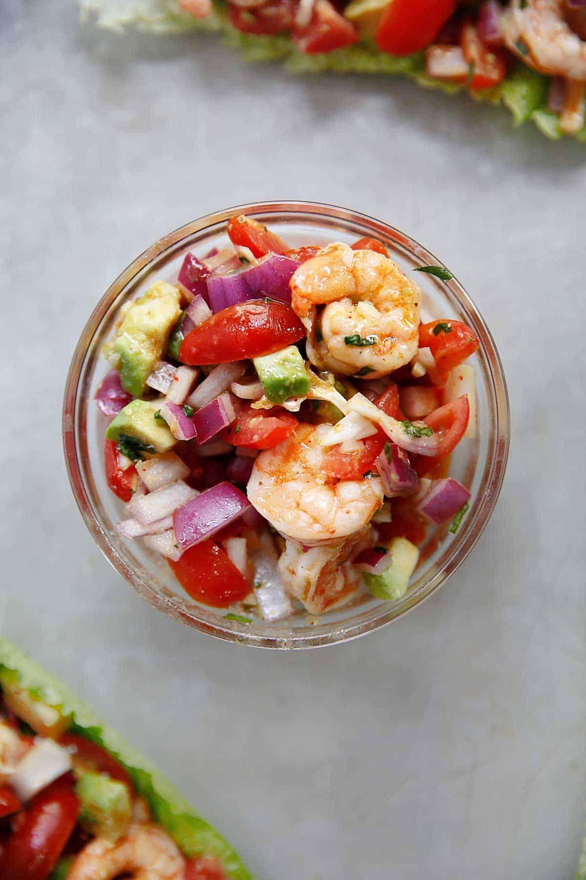 Shrimp tossed salad in a mason jar
