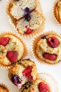 Berry banana muffins in their liners