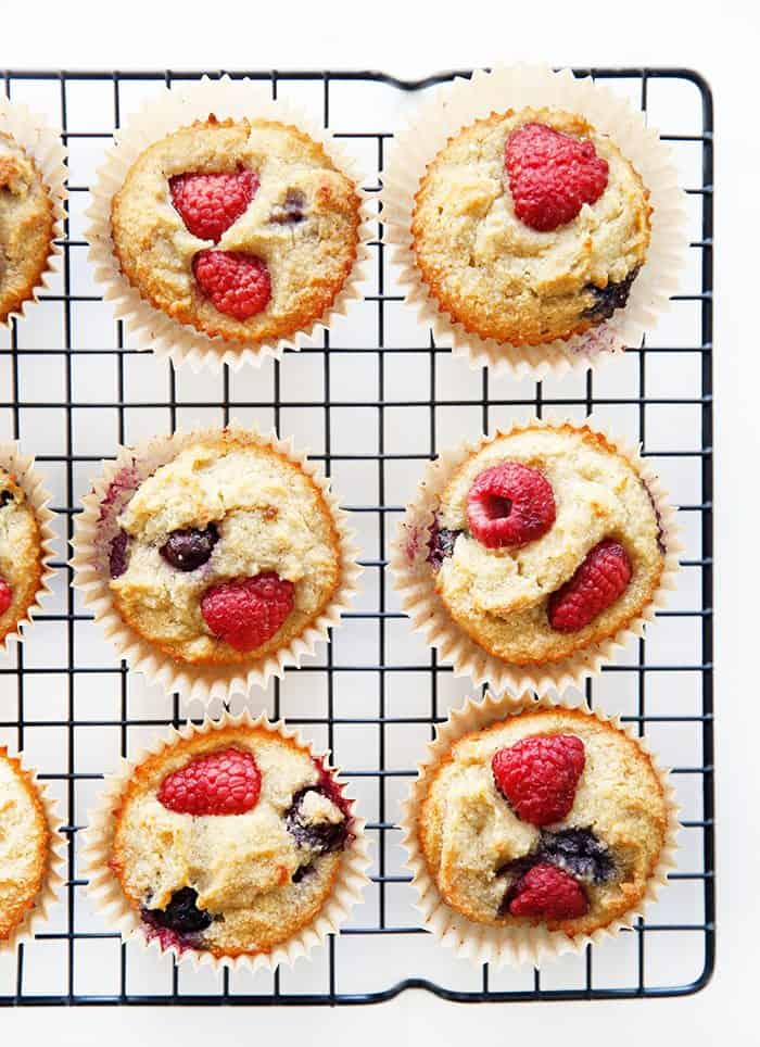 Paleo banana muffins on a cooling rack
