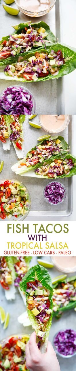 Fish Tacos with Tropical Salsa {Whole30, grain-free, dairy-free, paleo-friendly} | Lexi's Clean Kitchen