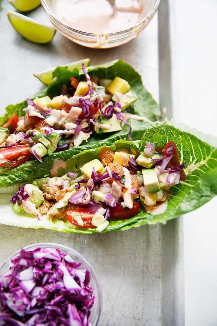 Fish Tacos with Tropical Salsa {Whole30, Paleo friendly, grain-free, dairy-free} | Lexi's Clean Kitchen