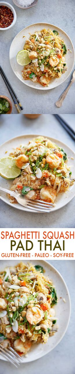 Spaghetti Squash Pad Thai {Paleo-friendly, grain-free, refined sugar free, dairy-free, vegetarian option} | Lexi's Clean Kitchen