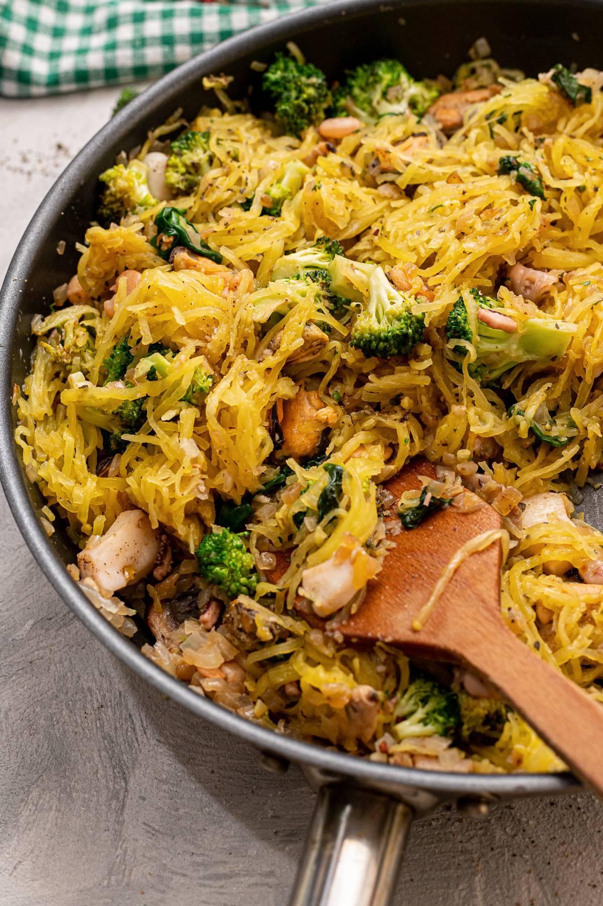 Spaghetti Squash Seafood Primavera