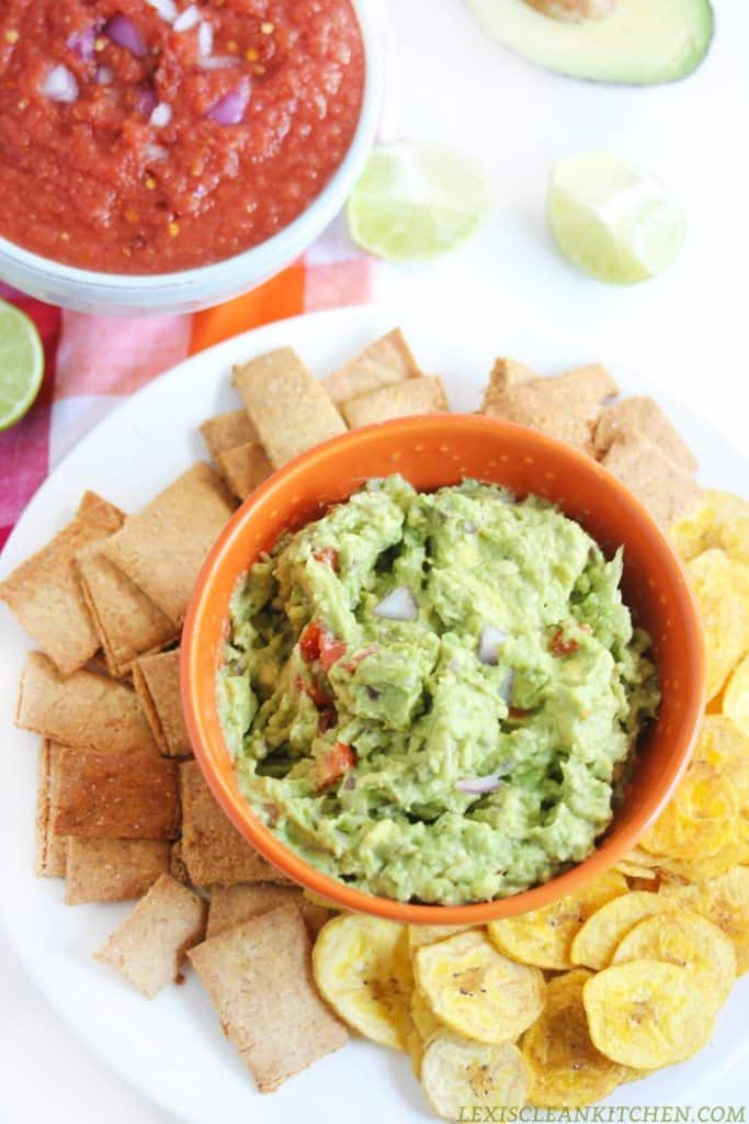 homemade guac recipe with tortilla chips and salsa