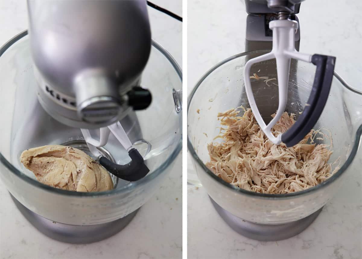 Shredding chicken in stand mixer