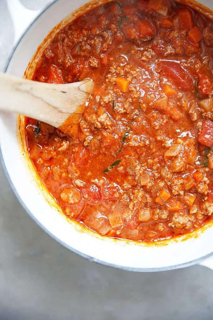 A homemade meat sauce in a pot.