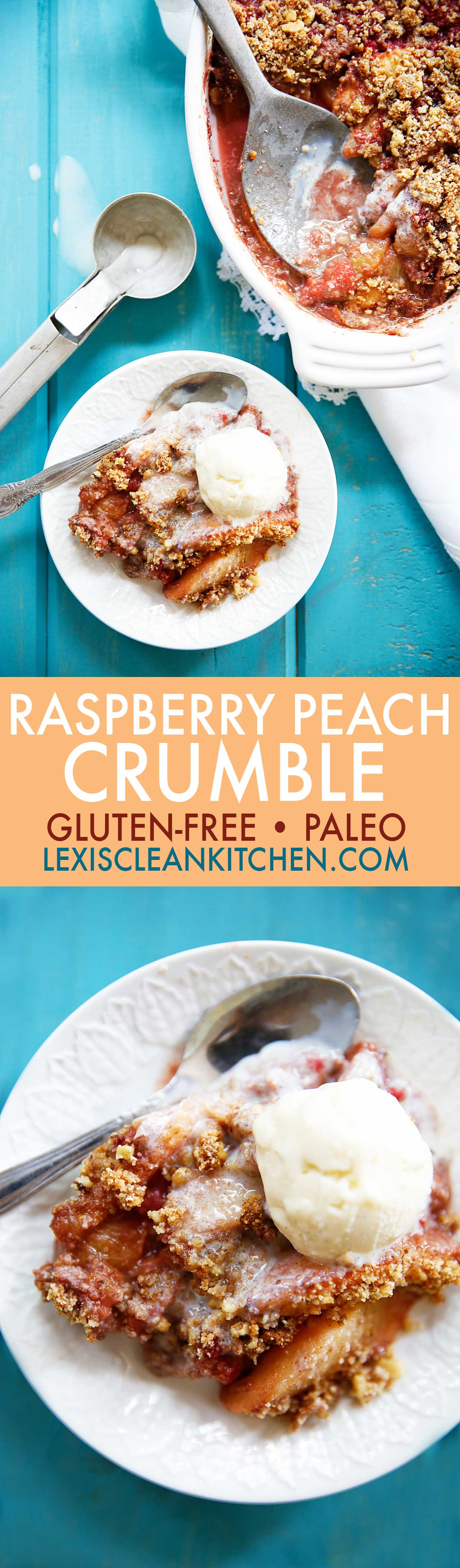Raspberry Peach Crumble {Dairy-free, egg-free, paleo-friendly, grain-free, gluten-free} | Lexi's Clean Kitchen