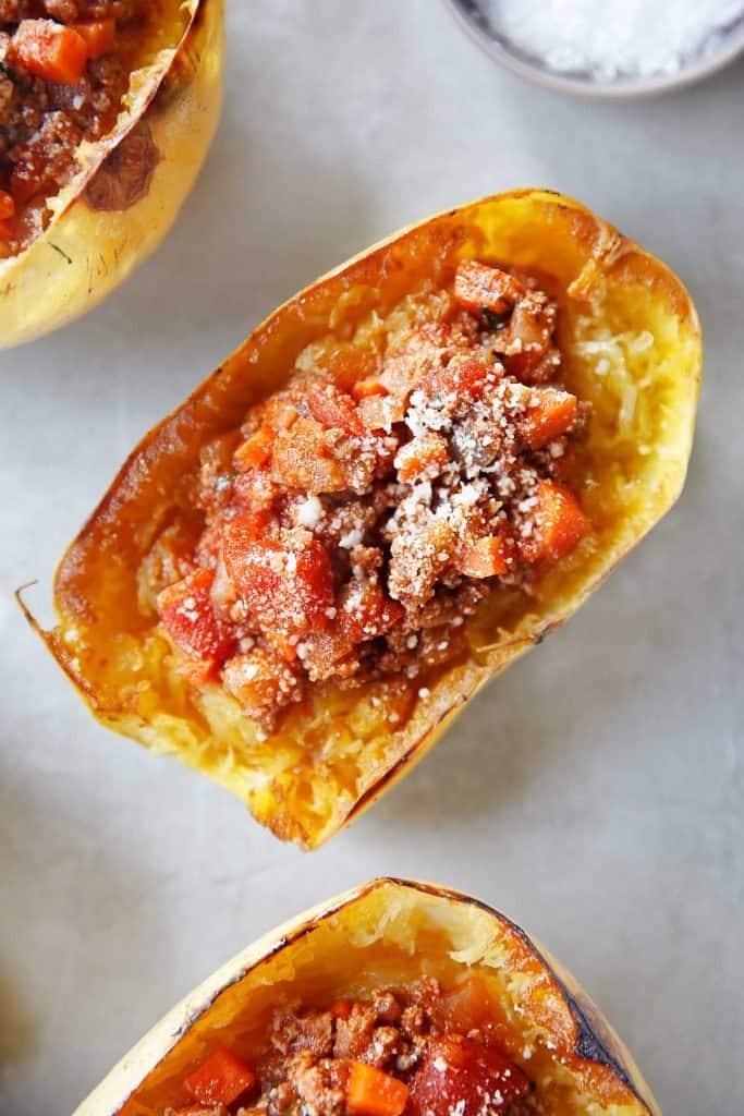 Spaghetti Squash Boats with Homemade Meat Sauce