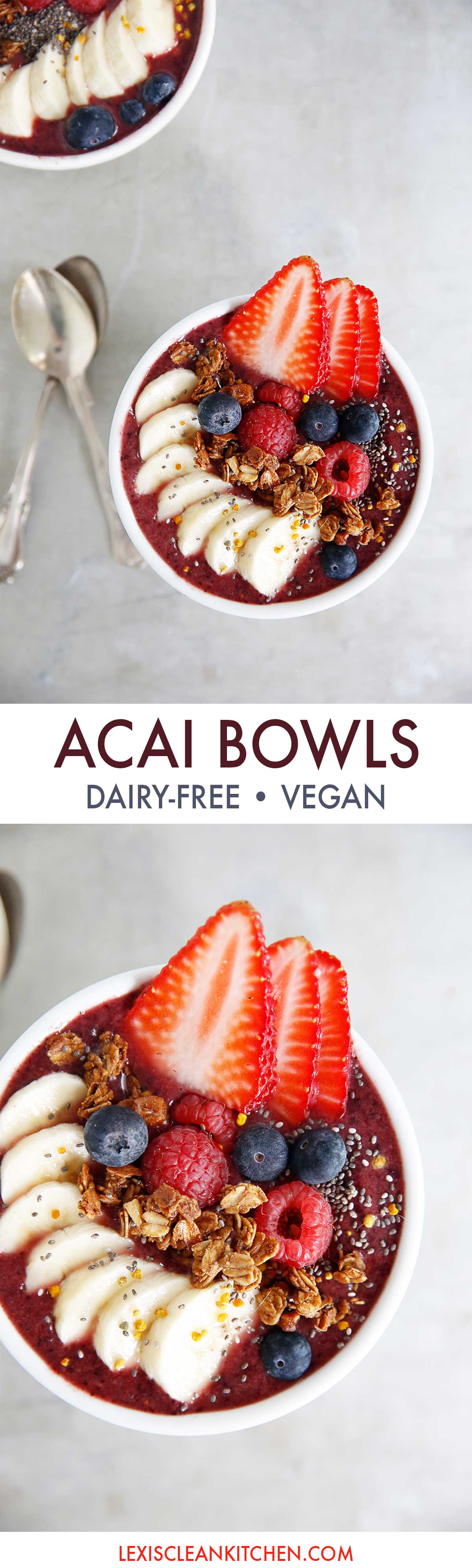Acai Smoothie Bowls (Paleo-friendly, vegan-friendly, gluten-free) | Lexi's Clean Kitchen