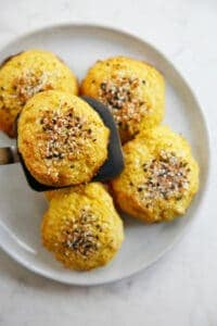 A plate of cauliflower rolls.