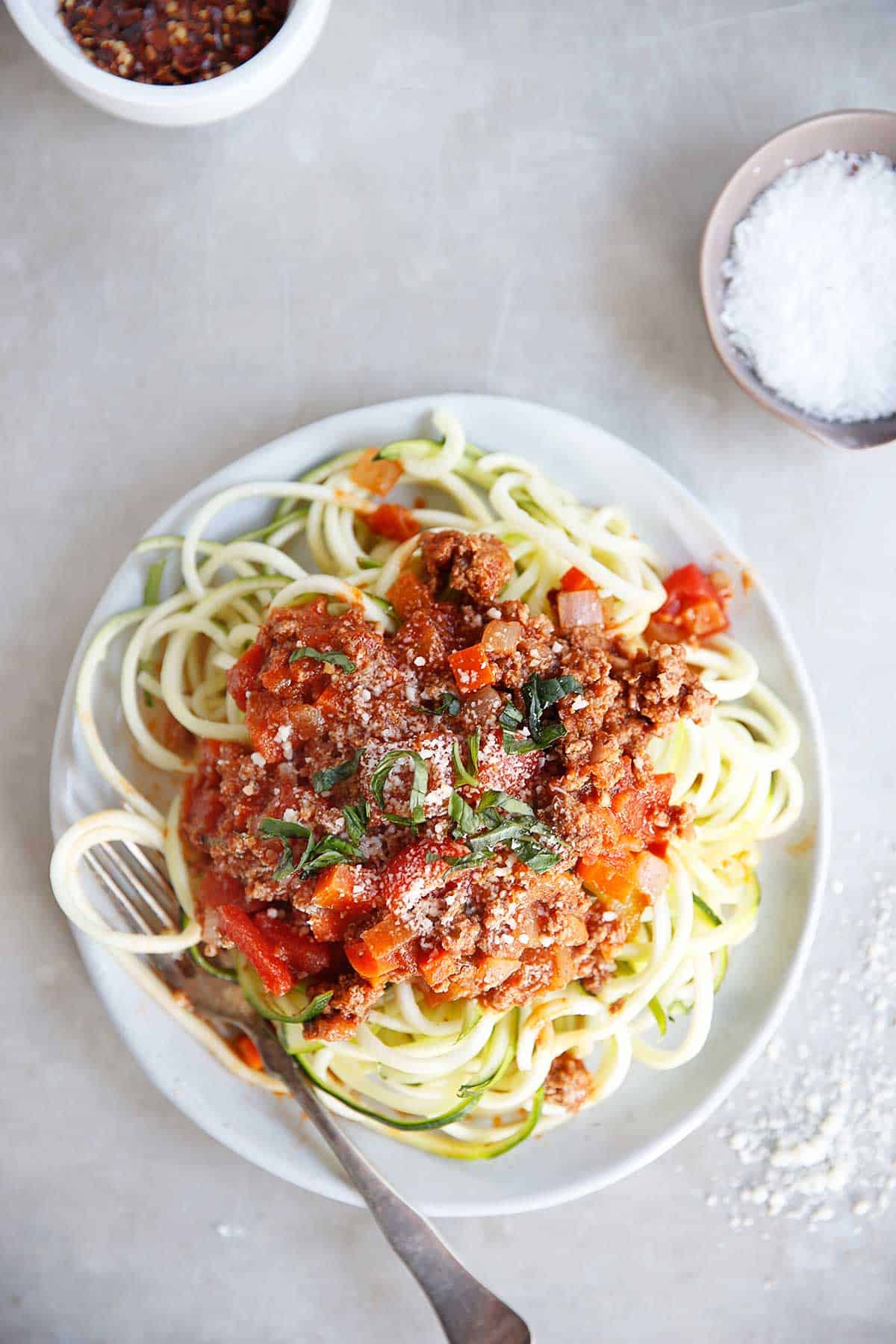 Zucchini Spaghetti with Homemade Meat Sauce