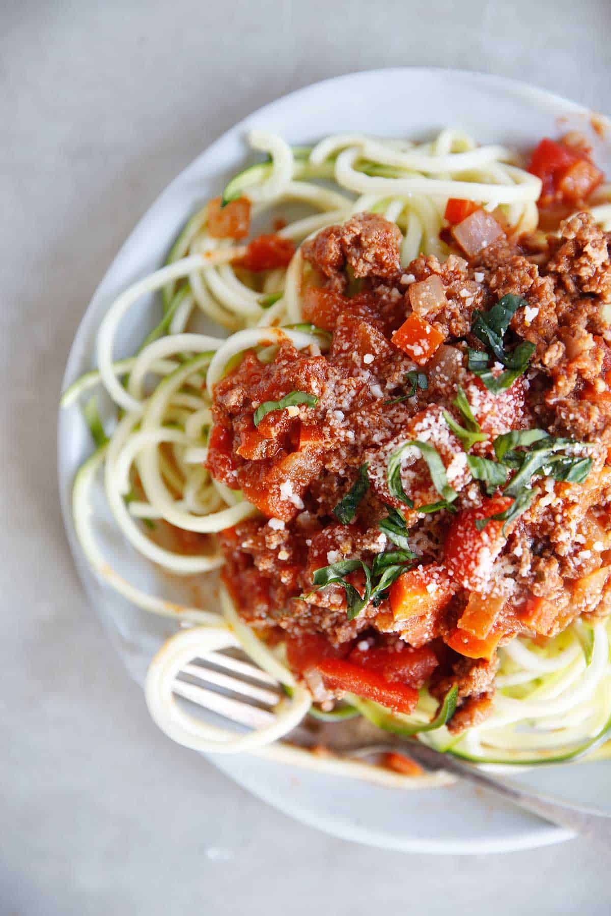 Zucchini spaghetti with homemade meat sauce.