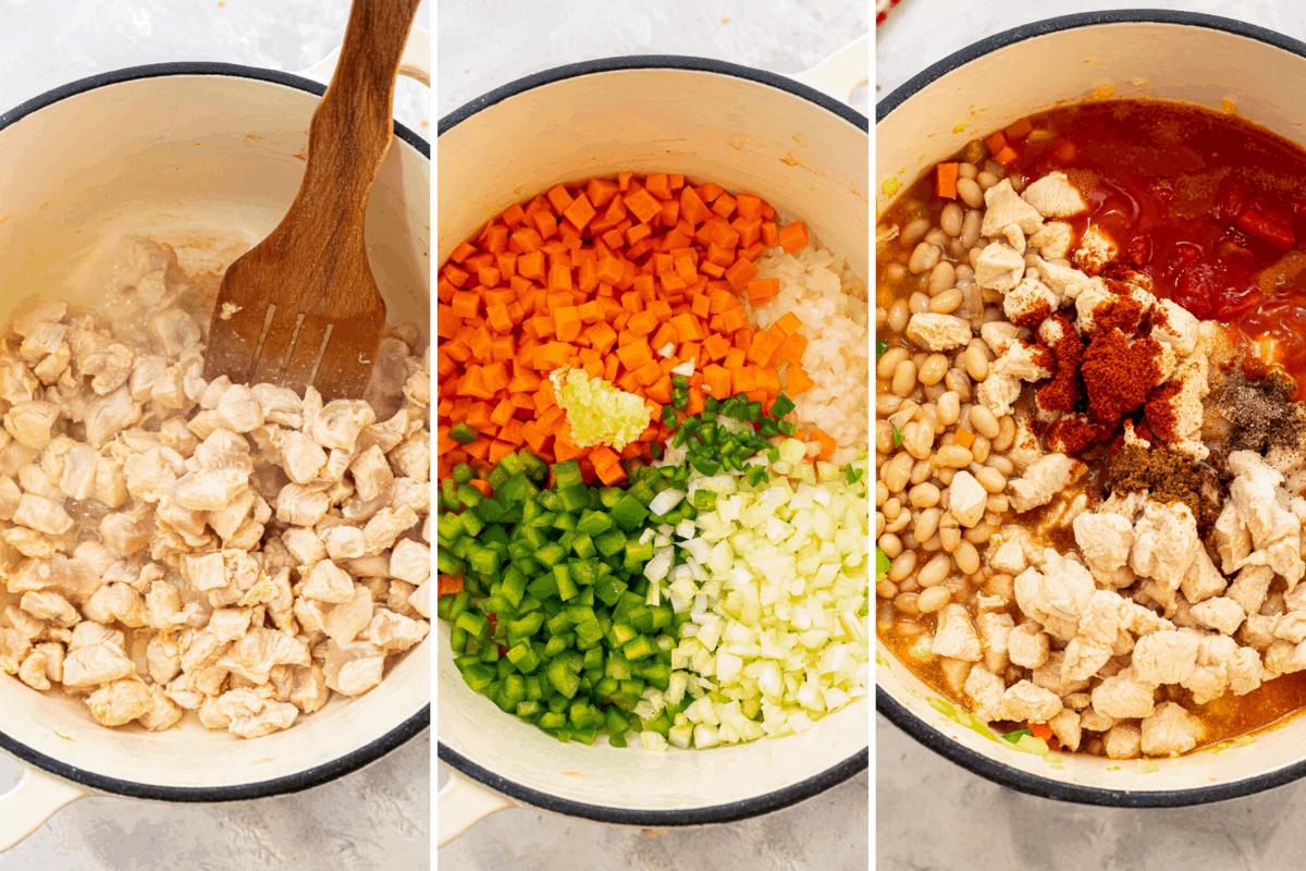 Three preparation photos making buffalo chicken chili.