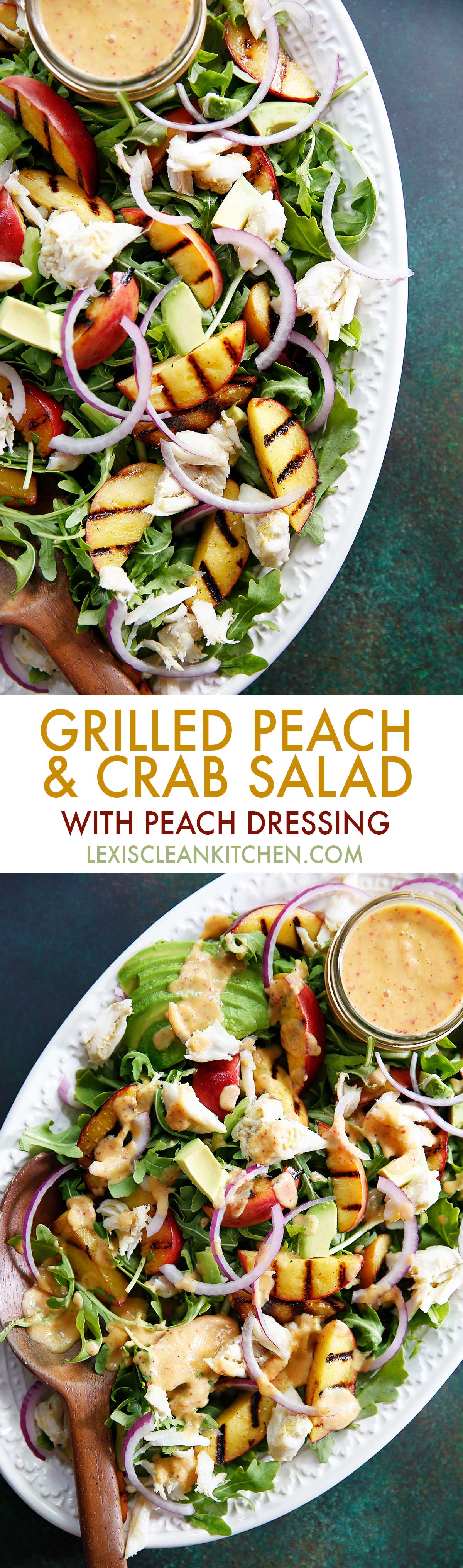 Grilled Peach Crab Salad {low-carb, grain-free, dairy-free, paleo-friendly} | Lexi's Clean Kitchen