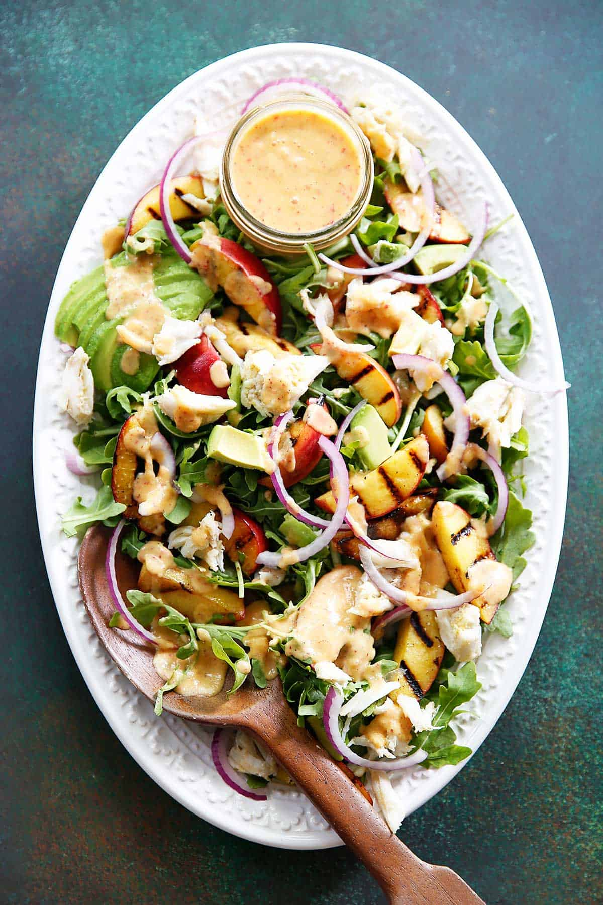Grilled Peach, Avocado, and Crab Salad with Peach Dressing