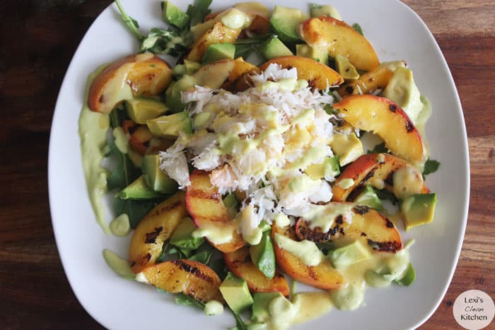 Grilled Peach, Avocado, and Crab Salad with Avocado ...