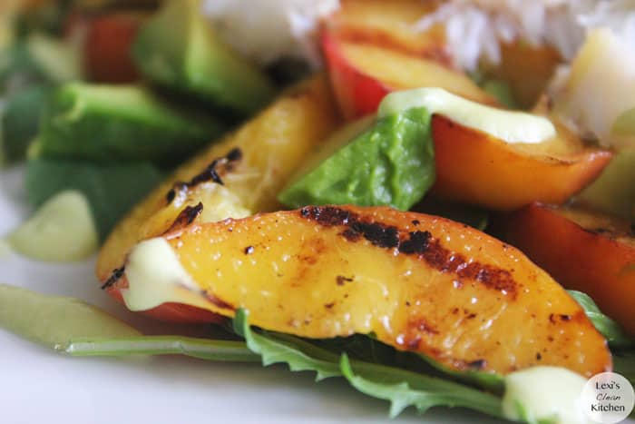 Grilled Peach, Avocado, and Crab Salad with Avocado & Peach Dressing ...