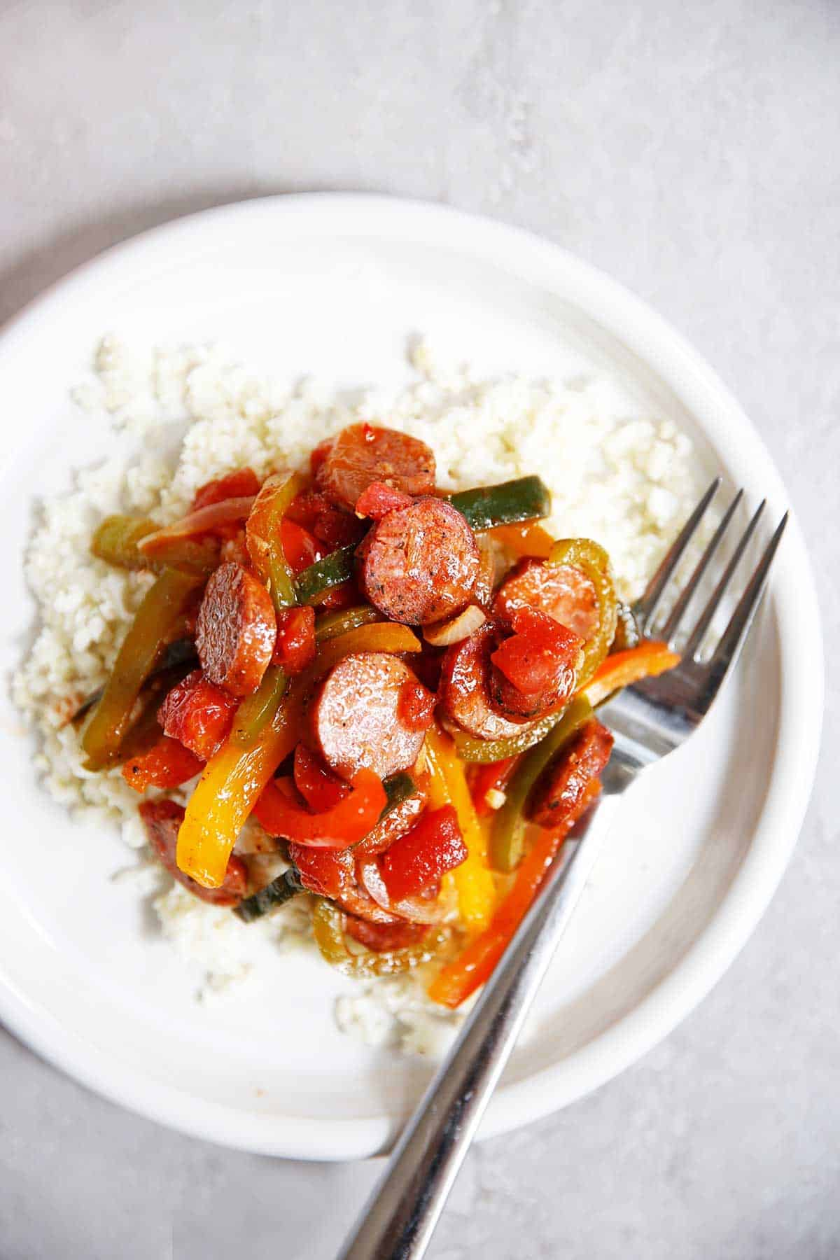 Sausage Peppers and Onions on a plate