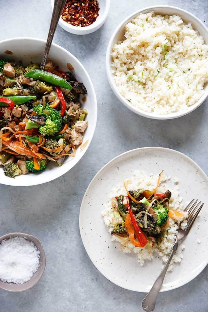 Stir Fry with Garlic Scallion Cauli-Rice