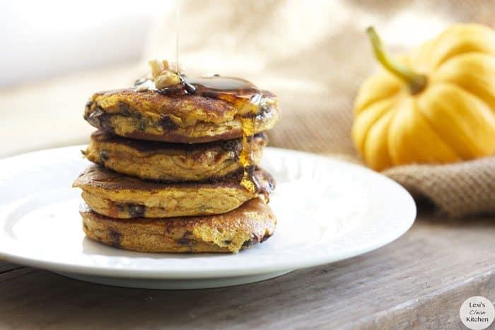 Chocolate Chip Pumpkin Protein Pancakes