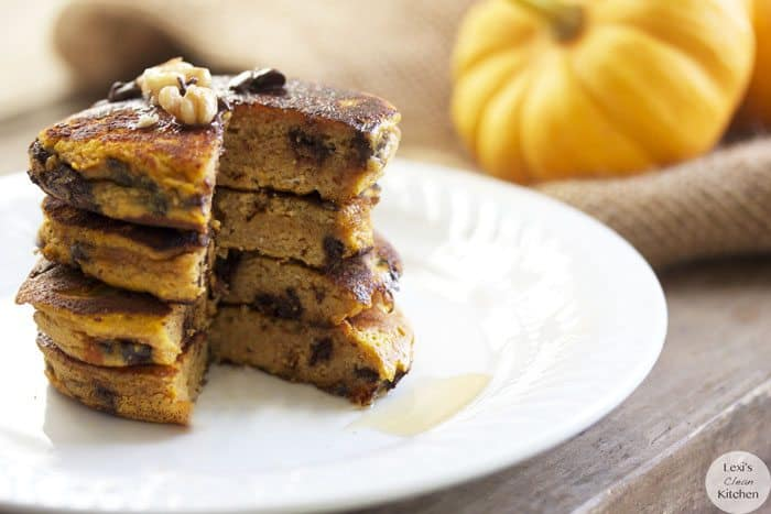 A stack of pumpkin protein pancakes.