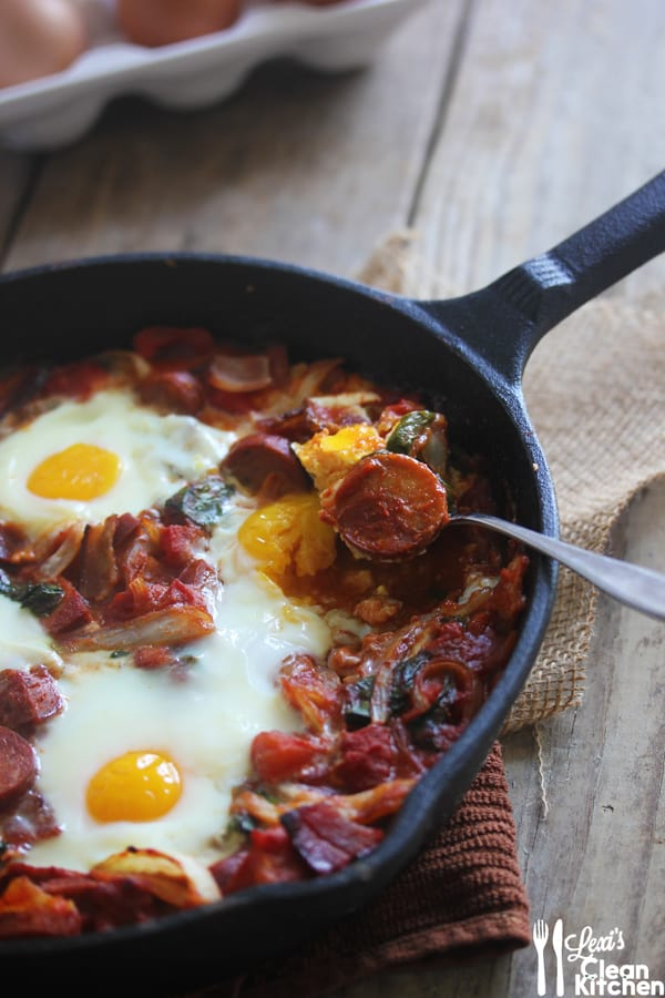 Saucy Chorizo and Bacon Baked Eggs