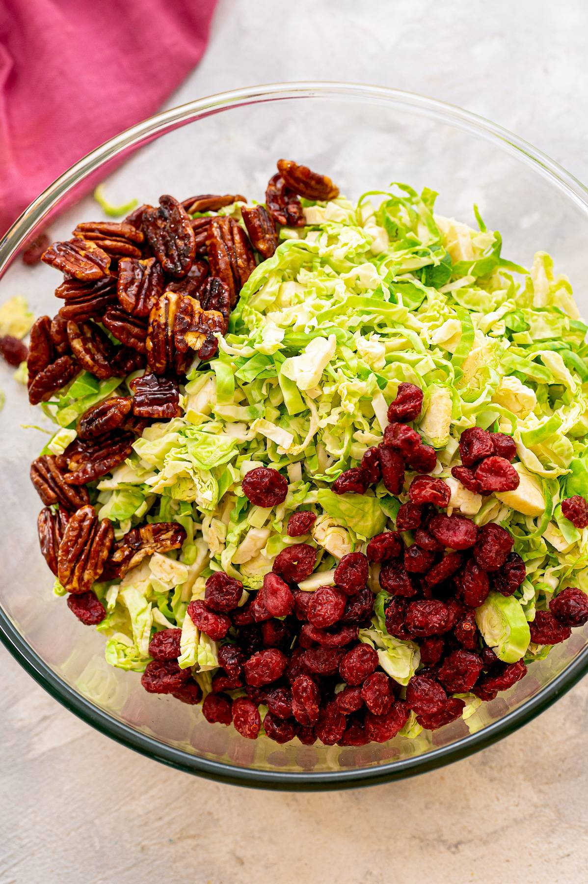 Ingredients for brussel sprouts slaw.