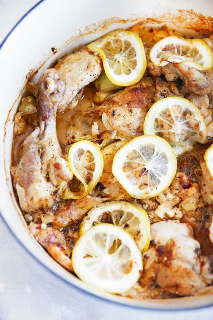 Lemon Roasted Chicken with Garlic, Capers, and Artichokes