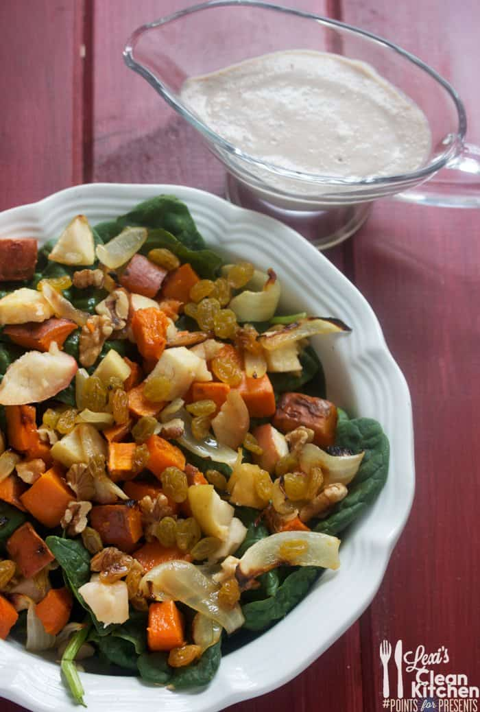 Warm Harvest Salad with Walnut Honey Vinaigrette
