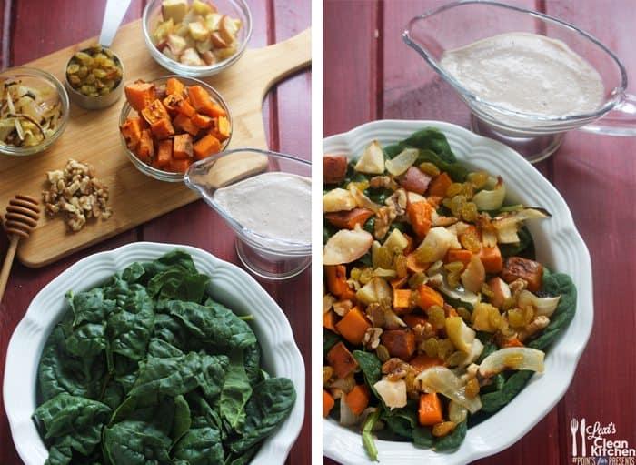 Warm Harvest Salad with Honey Walnut Vinaigrette