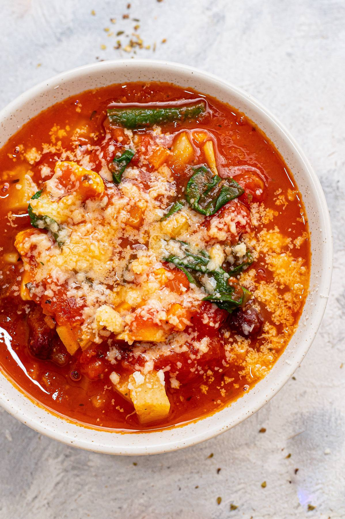Tomato and Veggie Soup in a Bowl