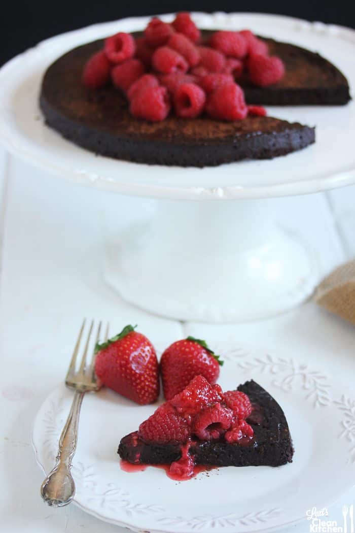 Flourless Chocolate Cake with raspberries plated