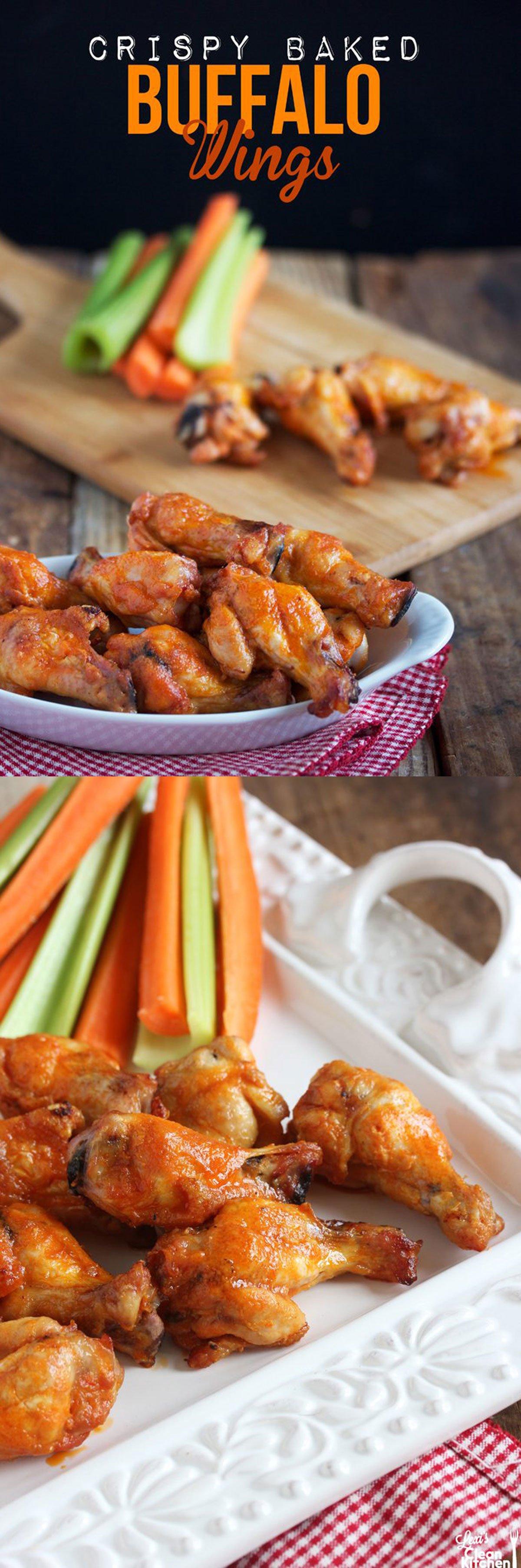 Crispy Baked Buffalo Wings - Lexi's Clean Kitchen #glutenfree #wings #superbowl #buffalochicken
