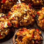 Wild rice stuffed mushrooms up close.