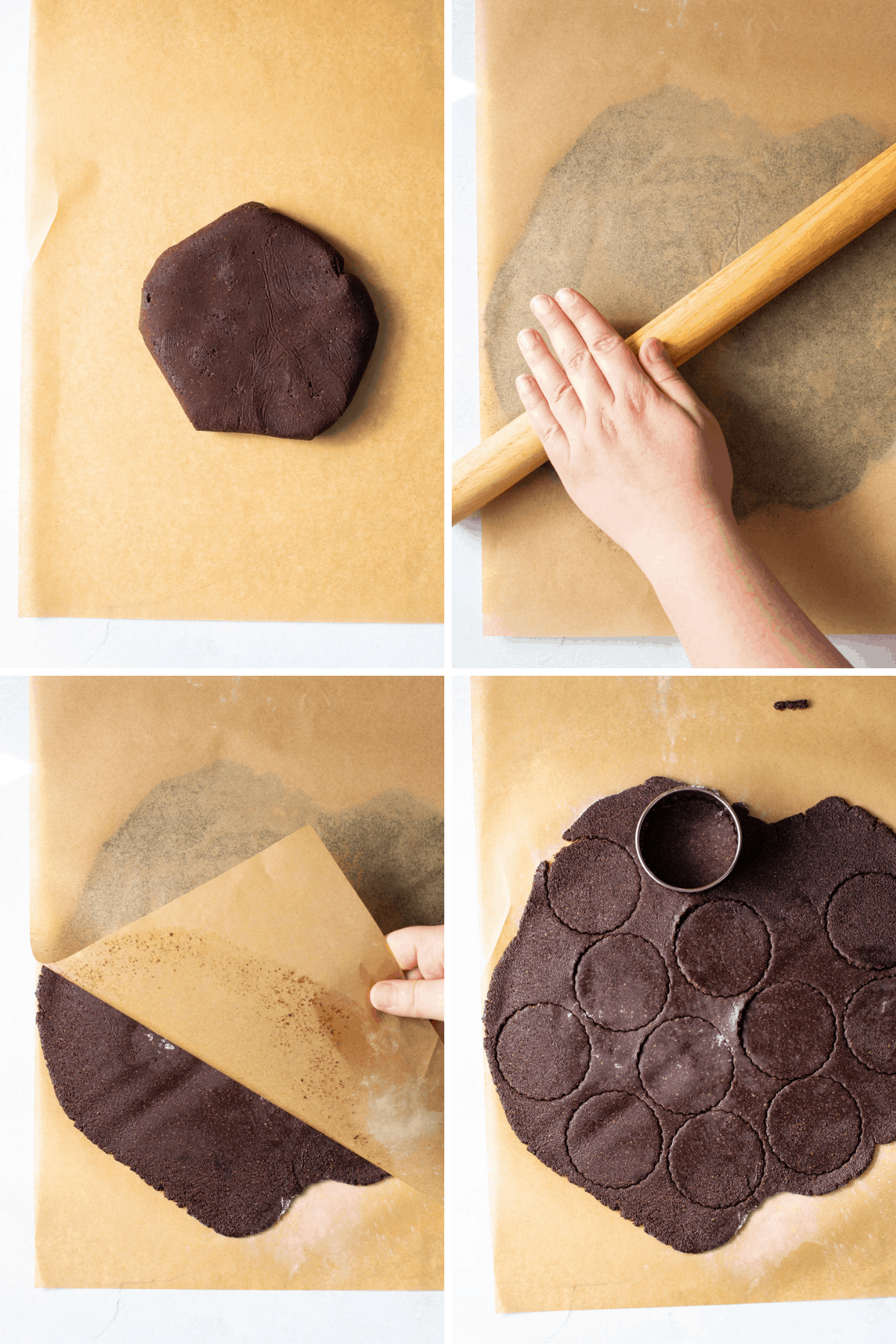 Preparation of the gluten-free thin mint dough.