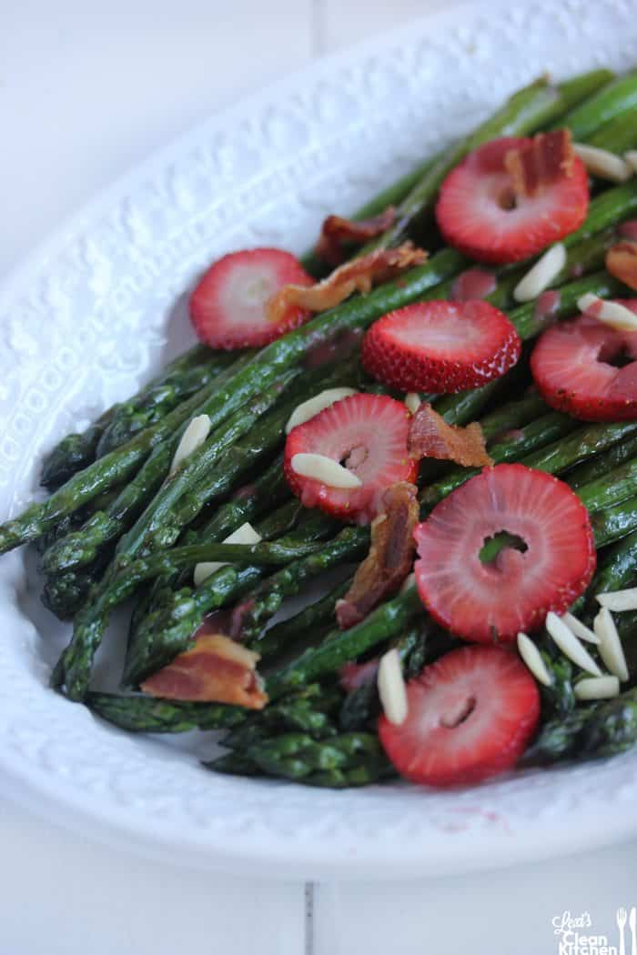 Strawberry Asparagus Salad with Bacon & Almonds
