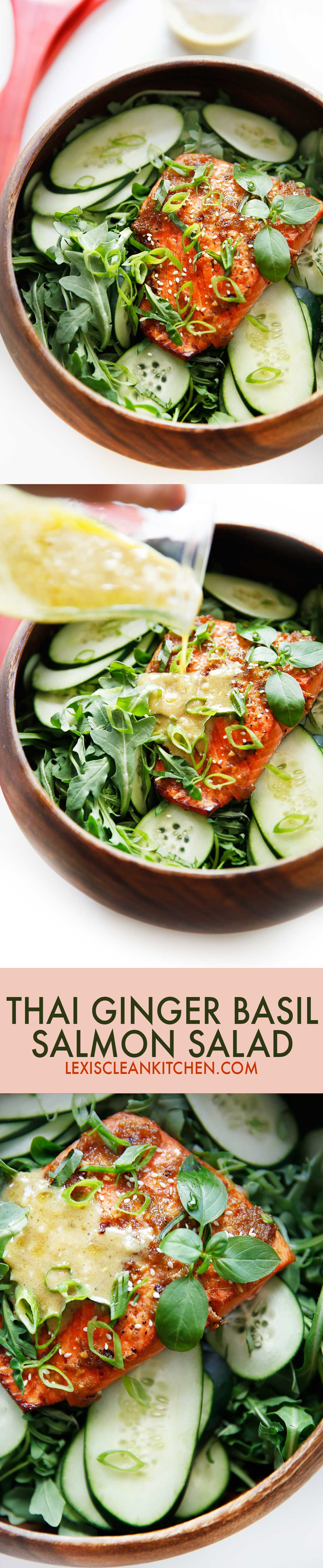 Thai Ginger Basil Salmon Salad {Whole30 compliant, dairy-free, paleo, grain-free} | Lexi's Clean Kitchen