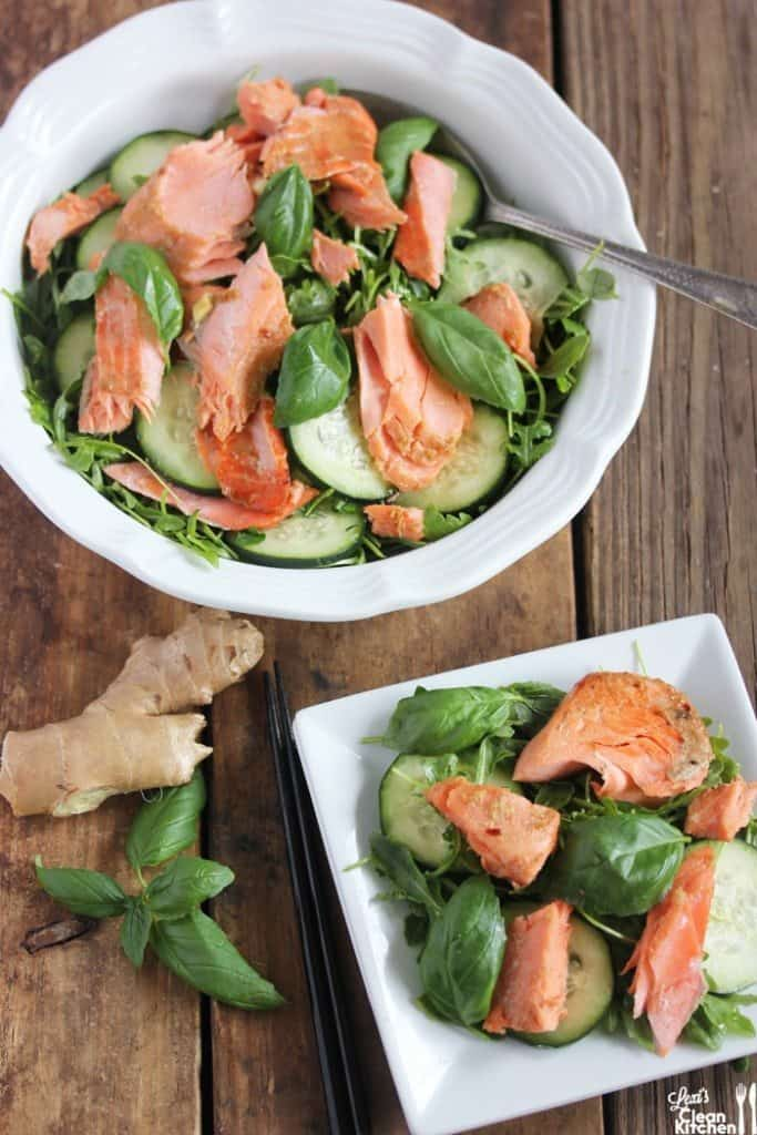 tomato and cucumber salad thai grilled steak salad broiled wild salmon ...
