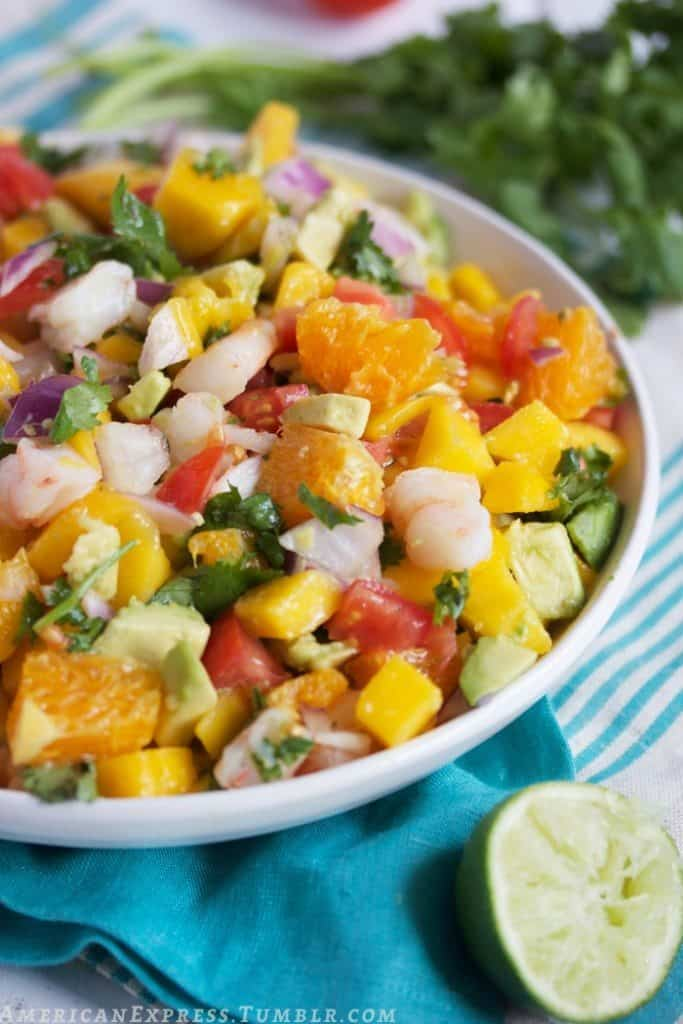 shrimp ceviche with oranges and mango
