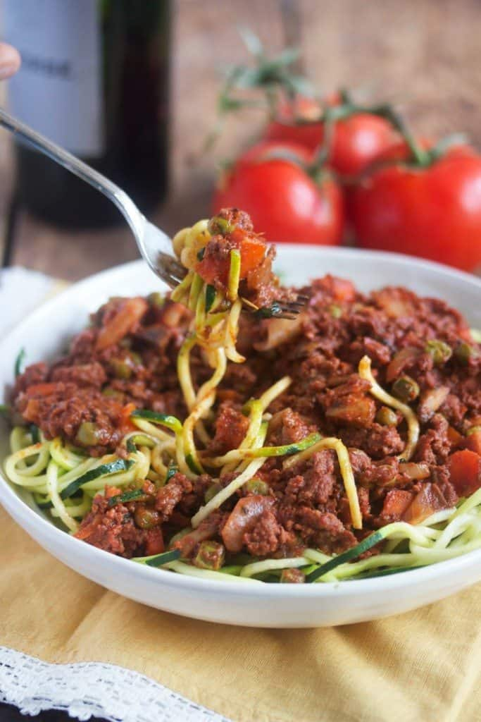 Hearty Bolognese, see more at http://homemaderecipes.com/healthy/11-vegetable-spiralizer-recipes