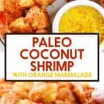 Pinterest image for paleo coconut shrimp.
