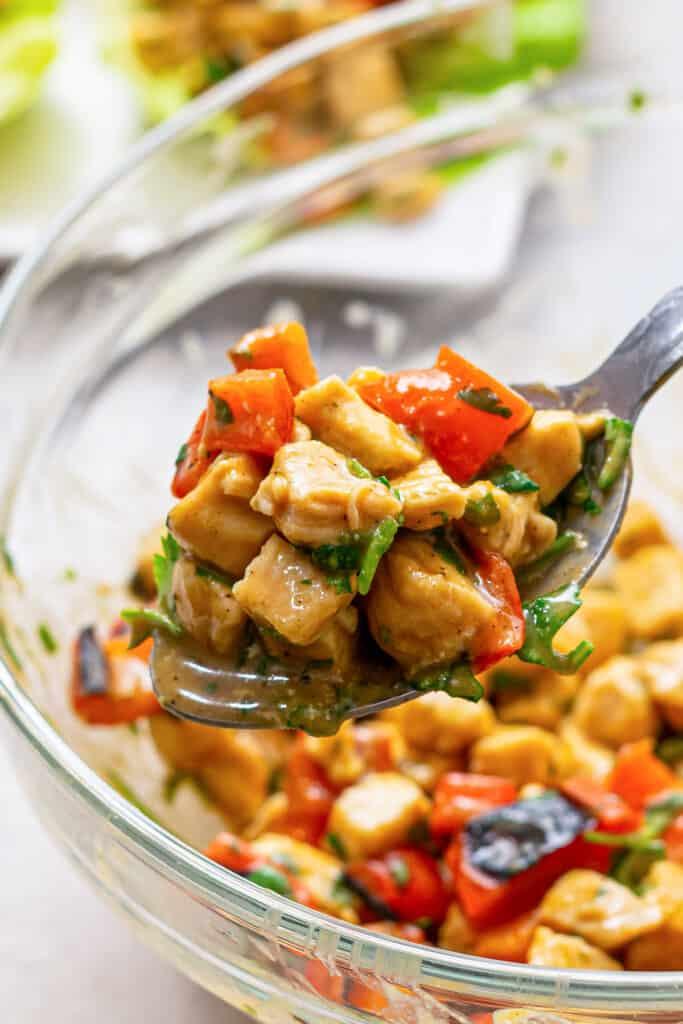 A scoop of honey mustard chicken salad.