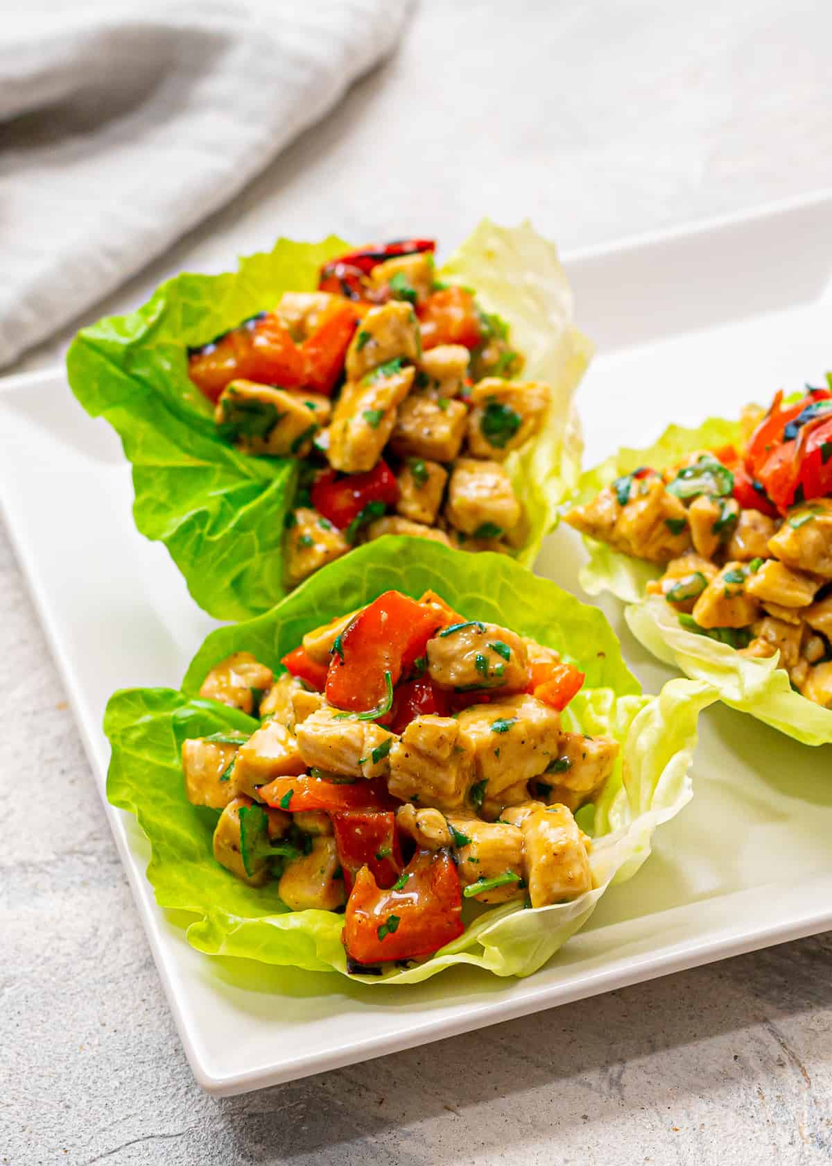 Mayo-free chicken salad in lettuce cups.