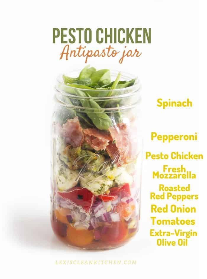 Pesto Chicken Antipasto Jar