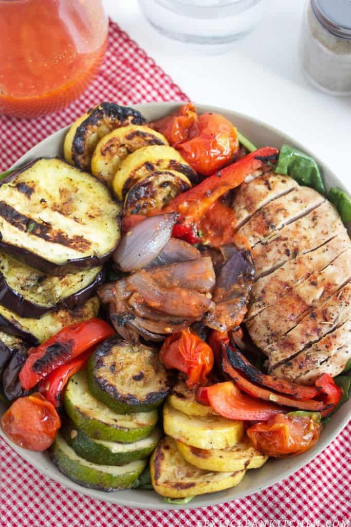 Grilled Veggie & Grilled Chicken Salads with Tomato Vinaigrette