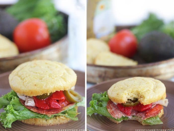 Paleo Sandwich Bread with deli meat