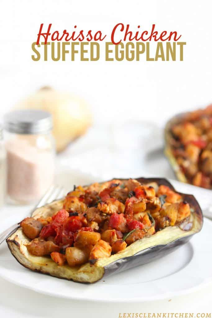 Harissa Chicken Stuffed Eggplant