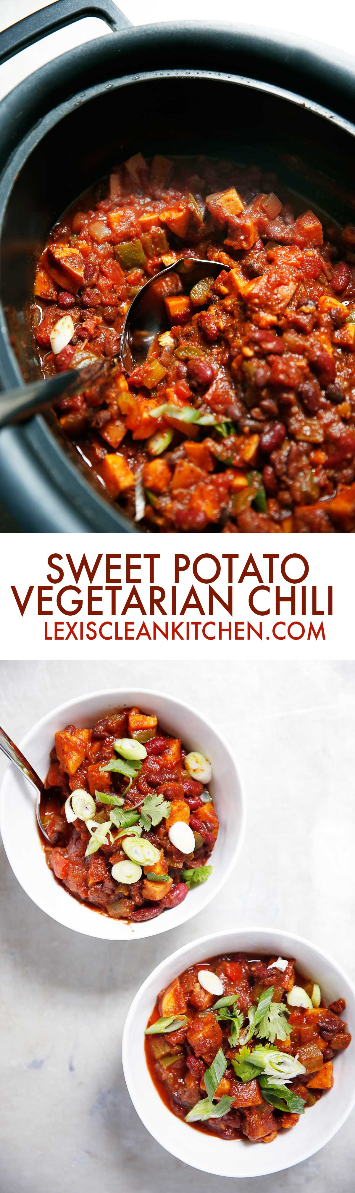 Slow Cooker Sweet Potato Chili [vegetarian, dairy-free, paleo-friendly]| Lexi's Clean Kitchen